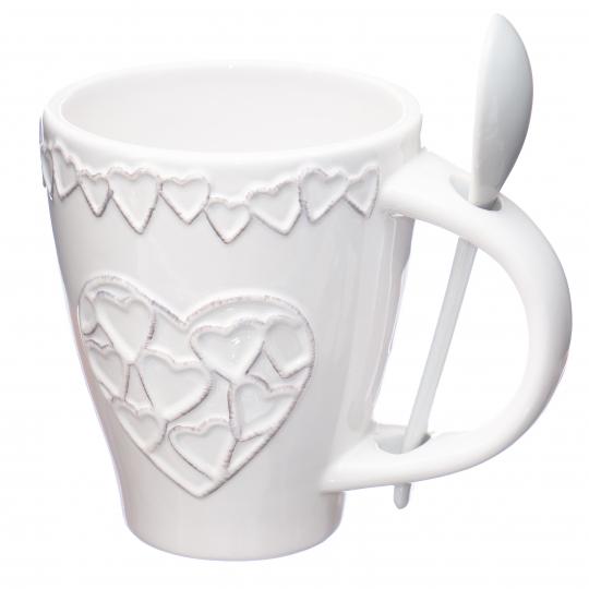 """Чашка с ложкой """"Сердца"""" (002AS)"""