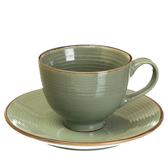 Цветная чашка с блюдцем (4 цвета) (002ALP)