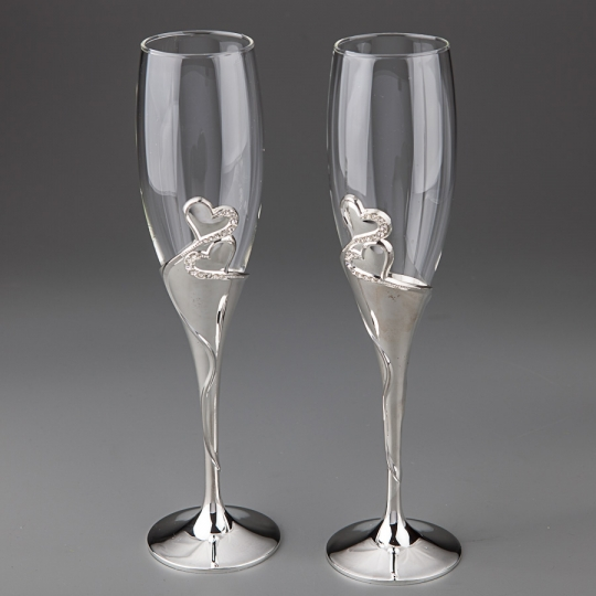 "Свадебные бокалы ""Два сердца"" (001G)"
