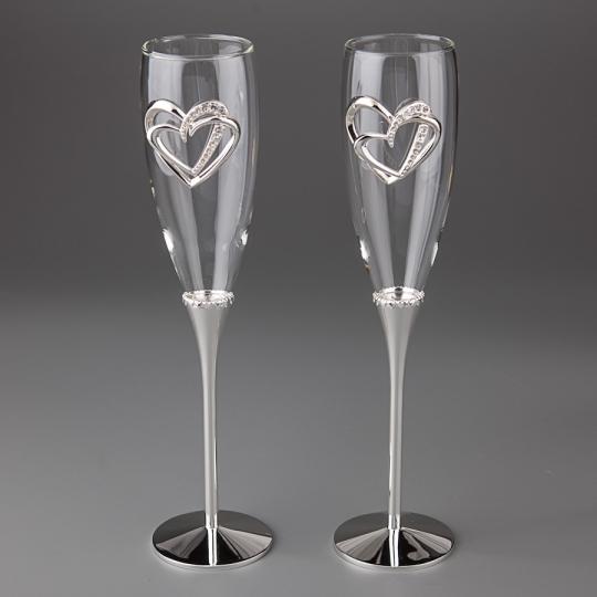 """Свадебные бокалы """"Сердца влюбленных"""" (005G)"""