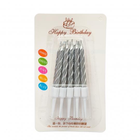 """Набор свечей для торта """"Глянец"""", серебрянные (8512-022)"""
