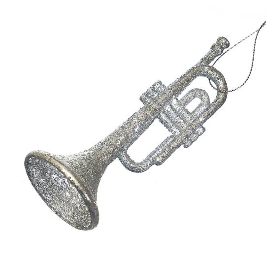 """Украшение """"Золотая труба в блёстках"""" (024NR/silver)"""