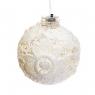 """Ёлочная игрушка """"Белый шарик с цветком"""" (027NZK)"""