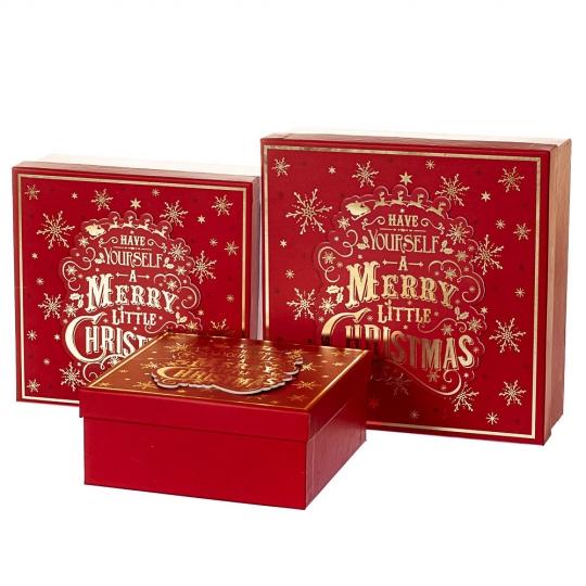 "Набор из 3-х коробок ""Красочное рождество""  28*28*11 см (8211-069)"