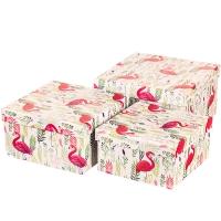"Набор коробок ""Гордый фламинго"" (четырехугольник) 3шт."