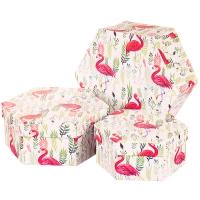 """Набор коробок """"Гордый фламинго"""" (шестиугольник) 3шт."""