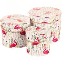 "Набор коробок ""Гордый фламинго"" (цилиндр) 3шт."