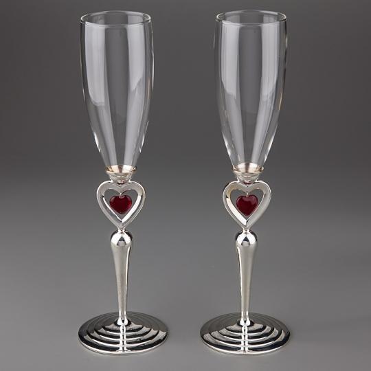 """Свадебные бокалы """"Пылающие сердца"""" (027G)"""