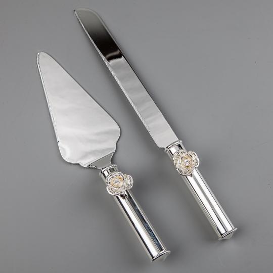 "Нож и лопатка для торта ""Розочки"""