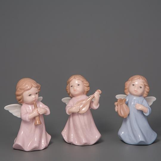 """Фарфоровые фигурки """"Ангелочки"""" (3 шт, 9 см) (003D-004D-005D)"""