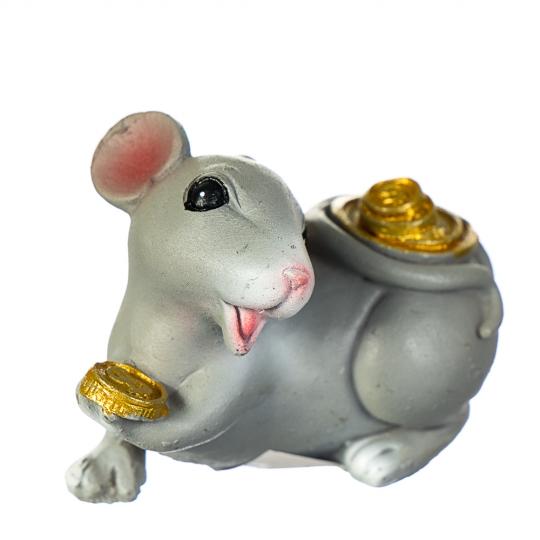 """Фигурка """"Хитрая мышка с монетами"""" (4 вида по 3шт) (018NK)"""