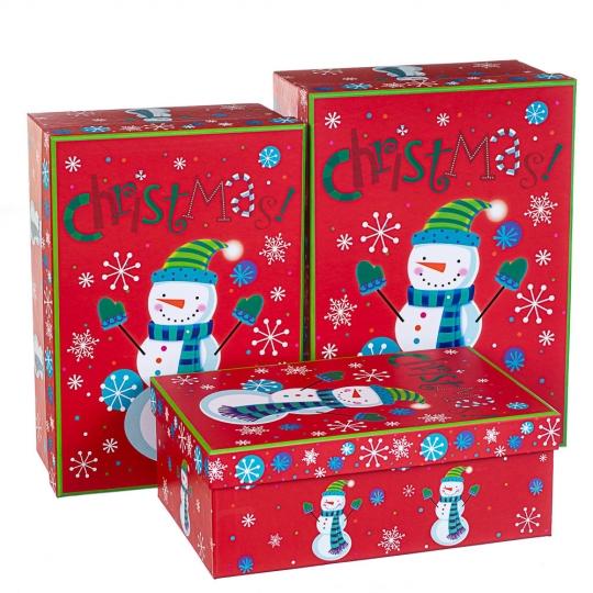 """Набор  из 3 коробок """"Снеговик""""   28*20*11 (8210-002)"""