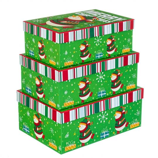 """Набор из 3 коробок """"Снеговик в танце""""  28*20*11 (8210-004)"""
