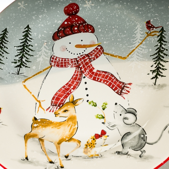 "Тарелка ""Снеговик с животными"" (003NR)"