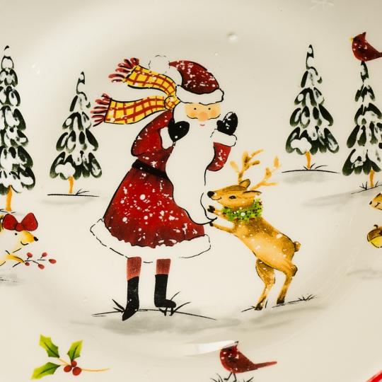 """Тарелка """"Дед Мороз в лесу"""" (004NR)"""