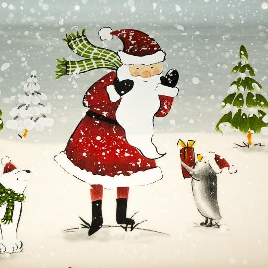 """Блюдо прямоугольное """"Дед Мороз в лесу"""" (005NR)"""