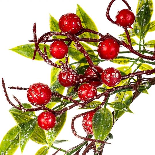 Венок из зеленых листьев с красными ягодами (005NT/red)