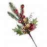 Новогодняя ветка с шишкой и золотыми ягодами (014NT)