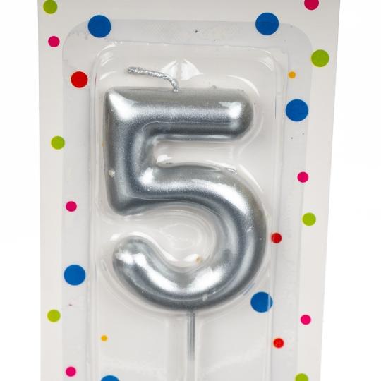 """Свеча для торта, серебро """"5"""" (8226-004)"""