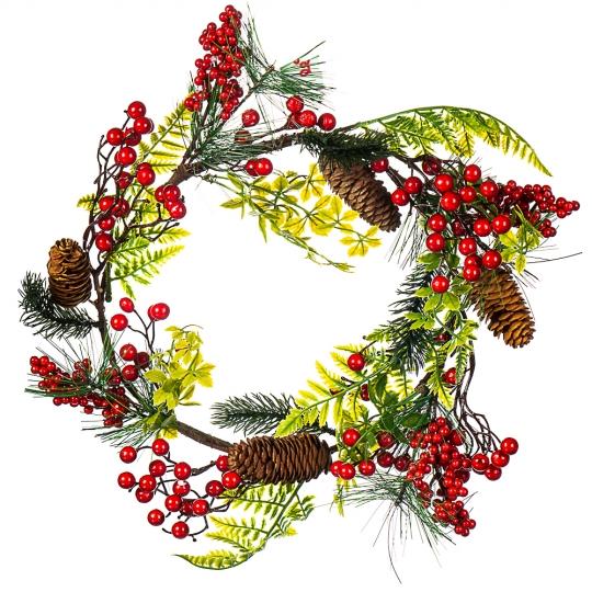 Ягодный венок с листьями и шишками (0024NT/red)