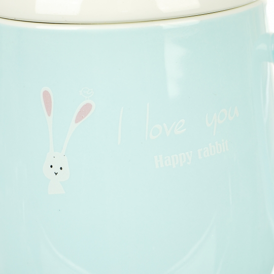 """Кружка """"Счастливый кролик"""", 380мл  (голубой цвет)"""