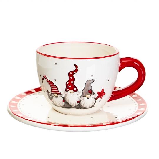 """Чашка с блюдцем """"Гномы"""" (008NG)"""
