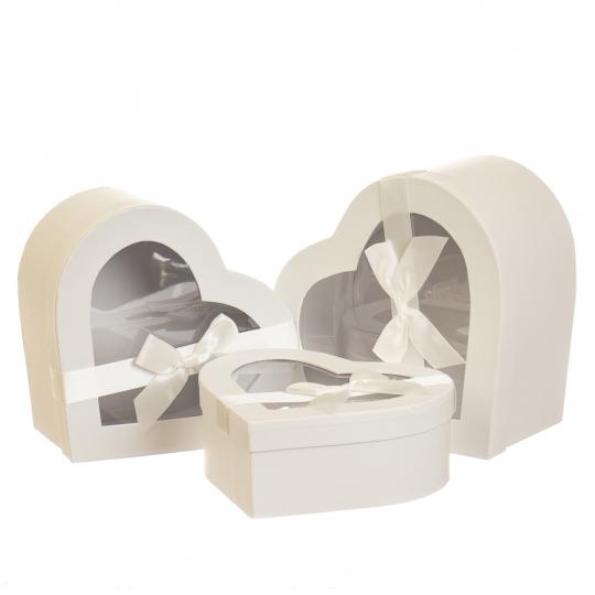 """Набор коробок для цветов 3 шт. """"Любовь"""" белые (5003-013)"""