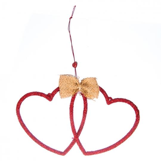 """Елочная игрушка """"Два сердца"""" (035NY)"""