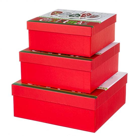 """Набор из 3 коробок """"С новым годом""""   28*28*11 (8211-038)"""