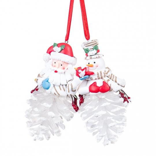 Новогодняя подвеска шишка дед мороз снеговик (0514J)