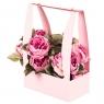 Коробка для цветов с ручкой (пудровый цвет) 1шт.