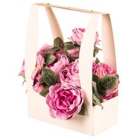 Коробка для цветов с ручкой (кремовый цвет) 1шт.
