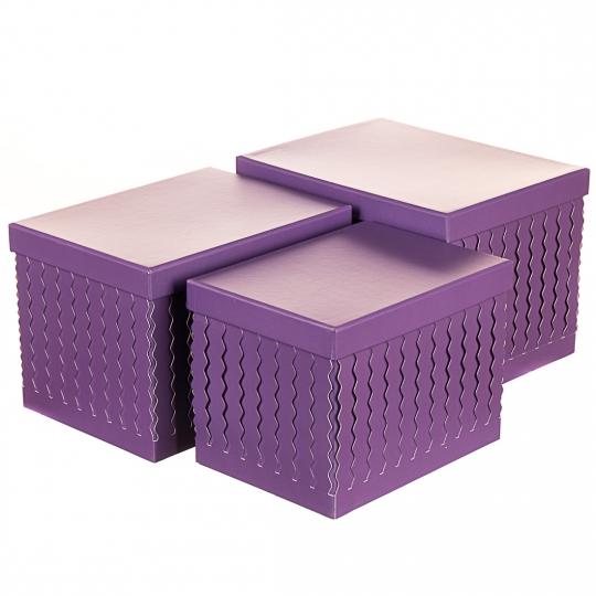"""Набор коробок """"Zigzag"""" (прямоугольник, фиолетовый цвет) 3шт. (0096JA-A)"""