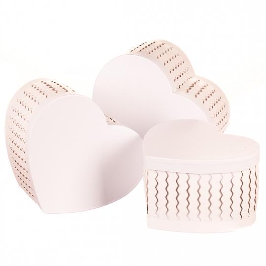 """Набор коробок """"Zigzag"""" (сердце, белый цвет) 3шт. (0097JA-B)"""