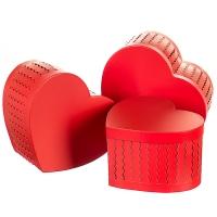 """Набор коробок """"Zigzag"""" (сердце, красный цвет) 3шт."""