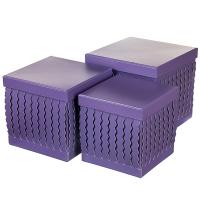 """Набор коробок """"Zigzag"""" (квадрат, фиолетовый цвет) 3шт."""