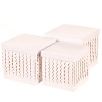 "Набор коробок ""Zigzag"" (квадрат, белый цвет) 3шт."