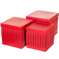 """Набор коробок """"Zigzag"""" (квадрат, красный цвет) 3шт."""