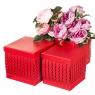"""Набор коробок """"Zigzag"""" (квадрат, красный цвет) 3шт. (0098JA-C)"""