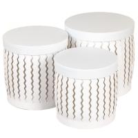 "Набор коробок ""Zigzag"" (цилиндр,  белый цвет) 3шт."