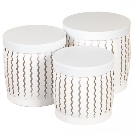 "Набор коробок ""Zigzag"" (цилиндр,  белый цвет) 3шт. (0099JA-A)"