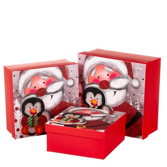 """Набор подарочных коробок """"Пингвин в гостях у Санты"""" 3 шт. Средние (8013-011)"""