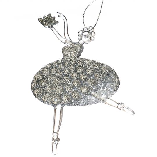 """Украшение """"Серебряная балерина с цветком"""" (005NR/silver)"""