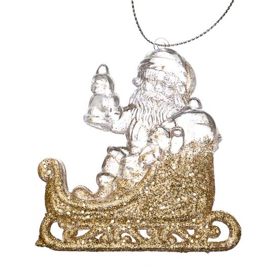 """Ёлочная игрушка """"Золотой Дед Мороз на санях"""" (009NR/gold)"""