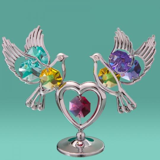 """Фигурка """"Два голубя на сердце"""" (0164-001 SL)"""